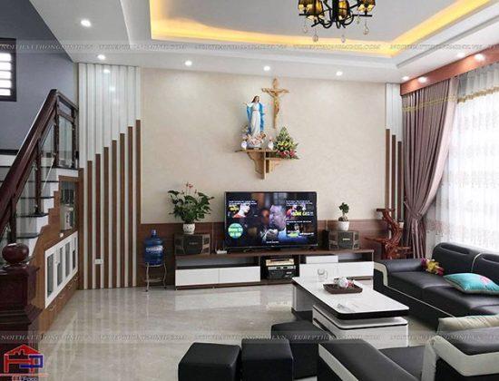 Không gian phòng khách hiện đại, sang tọng với kệ ti vi gỗ melamine An Cường