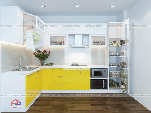 mẫu tủ bếp bằng gỗ công nghiệp acrylic màu vàng- trắng này sẽ là sự lựa chọn hoàn hảo cho gian bếp bắt mắt, ấn tượng
