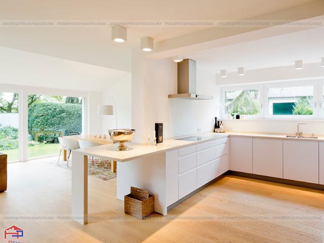 Mẫu tủ bếp dưới được thiết kế dành cho nhà bếp có diện tích rộng nhưng chỉ có tủ bếp dưới giúp cho không gian bếp thêm thoáng đãng