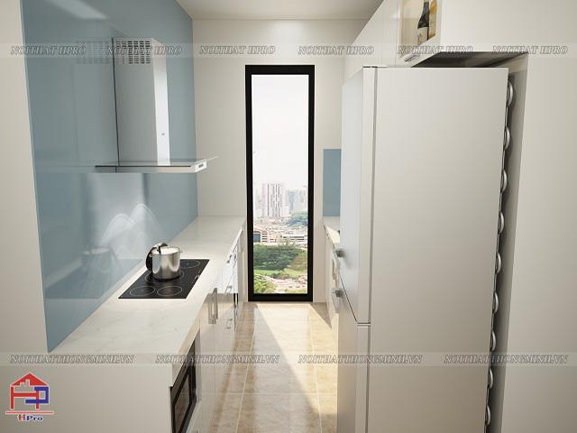 Mẫu thiết kế tủ bếp dưới bằng chất liệu acrylic bóng gương an cường dễ dàng vệ sinh và cho một gian bếp hiện đại