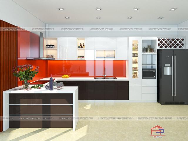 Với không gian bếp nhà biệt thực có diện tích rộng rãi thì thiết kế tủ bếp chữ G với bàn đảo bếp ấn tượng có thể tận dụng như quầy bar mini sẽ là sự lựa chọn hoàn hảo nhất