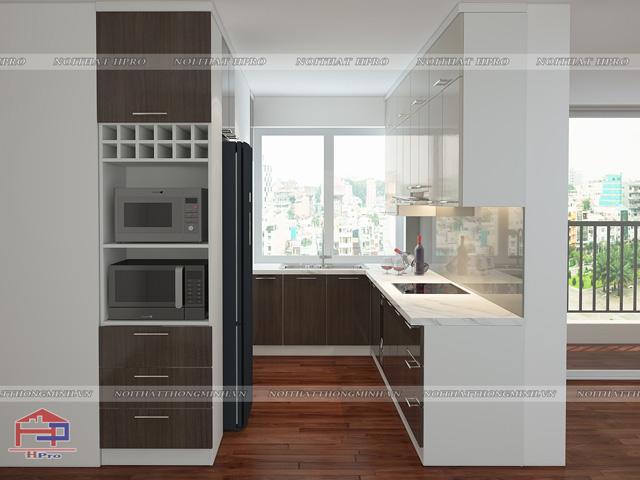 Tủ bếp laminate đẹp được thiết kế theo kiểu dáng chữ U cho không gian bếp nhỏ hẹp, tiện nghi