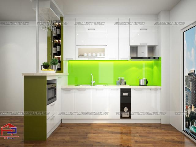 Mẫu thiết kế tủ bếp bằng gỗ công nghiệp acrylic bóng gương đẹp, hiện đại, tiện nghi với quầy bar mini ấn tượng