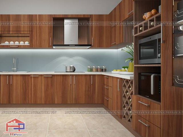 Mẫu tủ bếp gỗ công nghiệp đẹp bằng gỗ laminate màu vân gỗ cực kì sang trọng