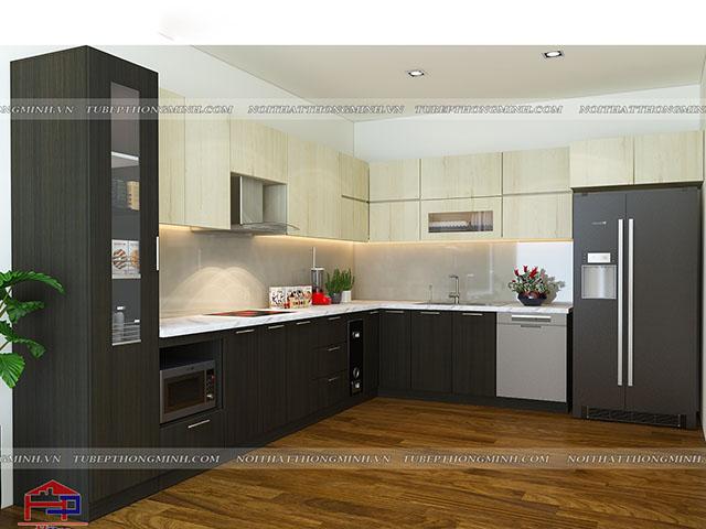 Thiết kế mẫu tủ bếp gỗ công nghiệp laminate màu vân gỗ sang trọng, kết hợp màu sắc ấn tượng