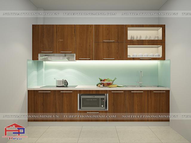 Mẫu tủ bếp gỗ công nghiệp laminate màu vân gỗ được thiết kế theo kiểu dáng chữ I nhỏ gọn