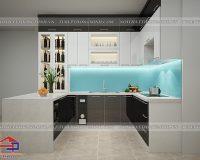 Thiết kế tủ bếp gỗ công nghiệp acrylic an cường nhà chị Trang- Đền Lừ
