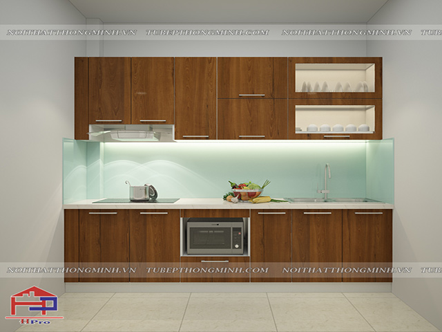 Mẫu tủ bếp gỗ công nghiệp đẹp laminate được thiết kế theo dạng chữ I nhỏ gọn nhưng vô cùng tiện nghi