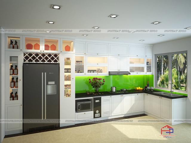 Thiết kế tủ bếp gỗ công nghiệp đẹp sơn trắng bề mặt cho một gian bếp thoáng đãng và tinh tế