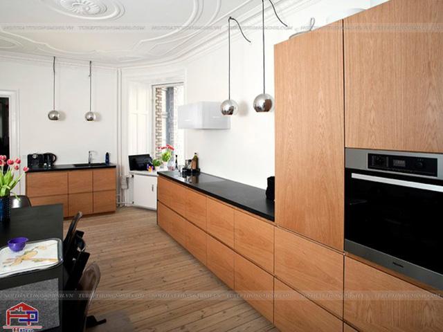 Sản phẩm tủ bếp veneer gỗ công nghiệp chất liệu gỗ veneer sồi mỹ mang vẻ đẹp chắc chắn, bền cùng năm tháng