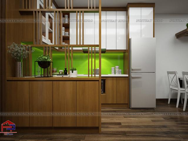 Với thiết kế đơn giản , bộ tủ bếp gỗ công nghiệp đẹp veneer kết hợp sơn trắng sẽ cho gia đình bạn một gian bếp ấm cúng, tiện lợi