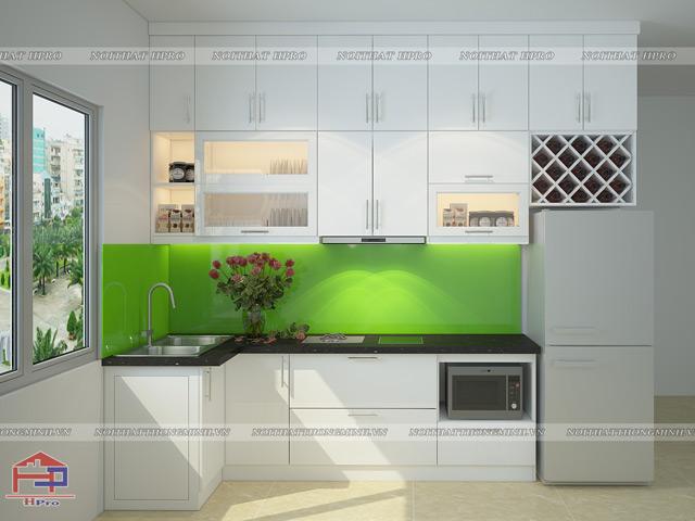Mẫu thiết kế tủ bếp gỗ công nghiệp MDF lõi xanh sơn trắng thiết kế theo phong cách hiện đại tiện nghi