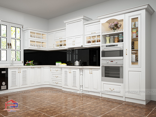 Mẫu tủ bếp gỗ công nghiệp MDF lõi xanh sơn trắng thiết kế tân cổ điển sang trọng