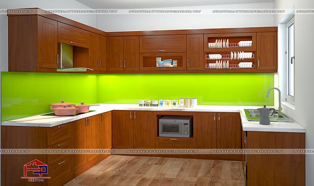Tủ bếp gỗ Lát TBGL100