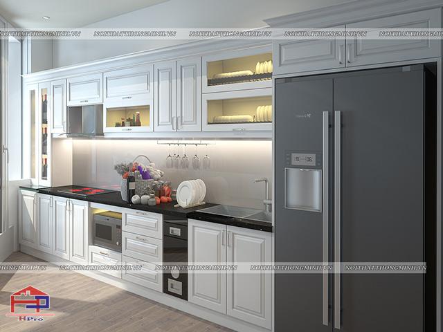 Ảnh thiết kế 3D tủ bếp gỗ HDF sơn trắng nhà anh Việt