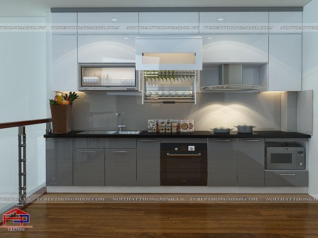 Màu ghi kết hợp trắng tinh tế của bộ tủ bếp đẹp này là hai màu sắc được yêu thích nhất năm 2018 này