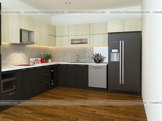 Chất liệu gỗ công nghiệp laminate màu vân gỗ khiến cho bộ tủ bếp đẹp thêm phần sang trọng