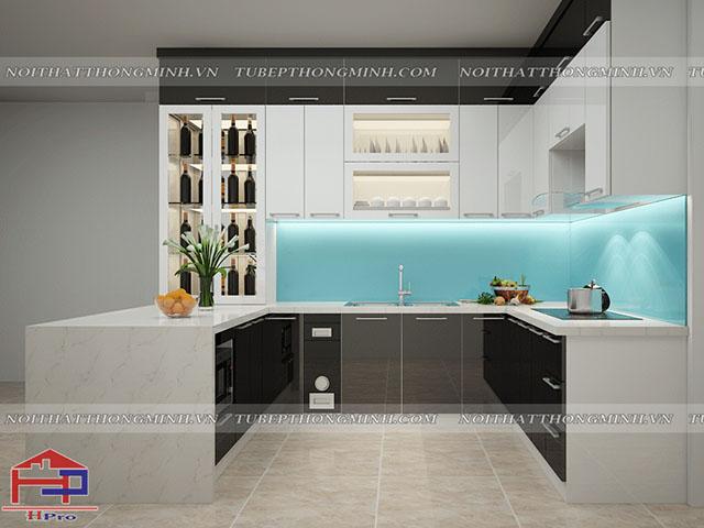 Bộ tủ bếp đẹp được thiết kế kiểu dáng chữ U dành cho phòng bếp nhà lô phố với màu trắng kết hợp đen ấn tượng