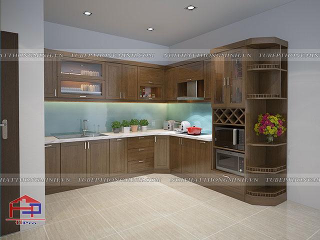 Không gian phòng bếp nhà lô phố được thiết kế bộ tủ bếp đẹp bằng chất liệu gỗ sồi mỹ tự nhiên với thiết kế đẹp và tiện dụng