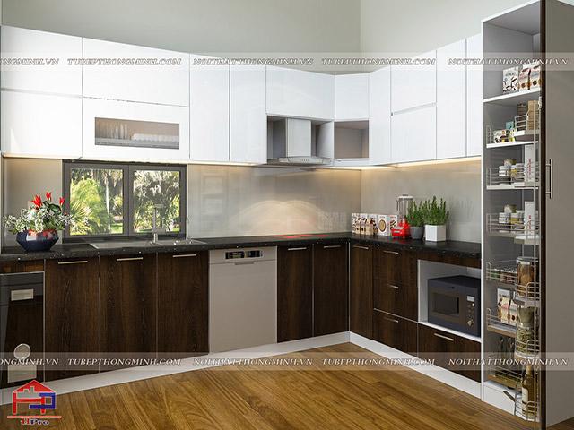 Bộ tủ bếp đẹp được thiết kế công năng tối đa tích hợp những phụ kiện, thiết bị bếp thông minh