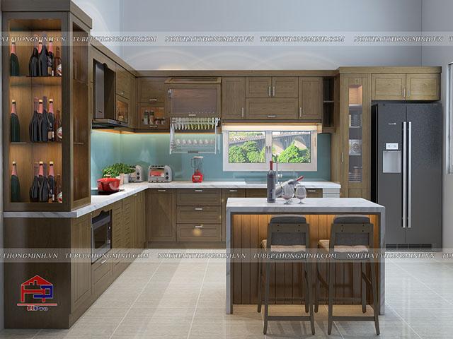 Theo phong cách thiết kế mới nhất hiện nay, bộ tủ bếp đẹp được bố trí thêm bàn đảo bếp vừa được tận dụng như chiếc bàn ăn tiện nghi vừa giúp gia đình có thêm những giây phút thư giãn tuyệt vời