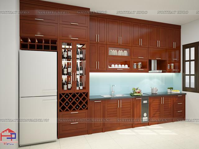 Với nhà chung cư có diện tích căn bếp nhỏ hẹp thì bộ tủ bếp đẹp kịch trần này sẽ là sự lựa chọn hoàn hảo nhất cho gia đình bạn