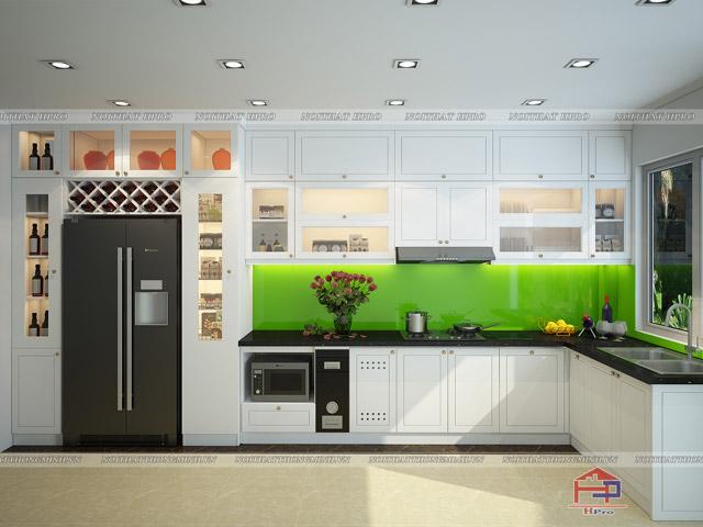 Bộ tủ bếp đẹp bằng gỗ sồi nga tự nhiên được sơn trắng giúp không gian bếp thêm phần thoáng đãng và hiện đại