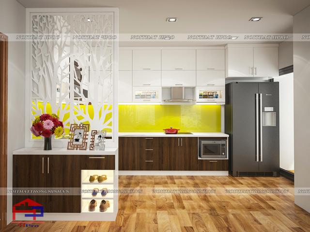 Sự kết hợp giữa chất liệu gỗ laminate và acrylic trong bộ tủ bếp đẹp này mang đến một không gian nhà bếp tinh tế, hiện đại và sang trọng