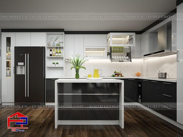 Bộ tủ bếp đẹp bằng gỗ acrylic bóng gương được thiết kế hiện đại, kết hợp bàn đảo bếp mang lại sự tiện nghi cao nhất cho gia đình