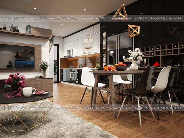 Không gian phòng bếp nhà chung cư được thiết kế bộ tủ bếp đẹp chữ I kịch trần bằng chất liệu gỗ acrylic bóng gương An Cường