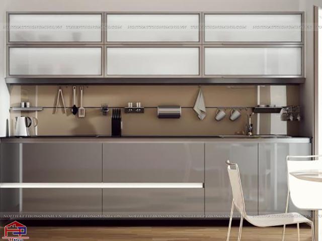 Công nghệ sơn tĩnh điện giúp các mẫu tủ bếp nhôm kính đẹp có màu sắc ấn tượng, trẻ trung, sang trọng