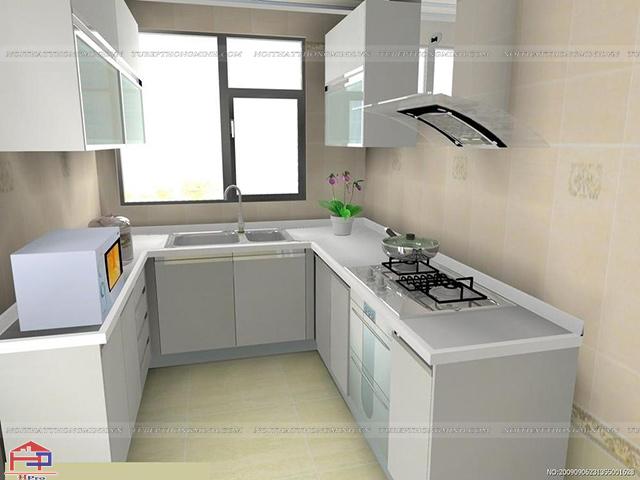 Các mẫu tủ bếp nhôm kính đẹp hình chữ U phù hợp với không gian nhà bếp nhỏ hẹp được tận dụng tối đa diện tích