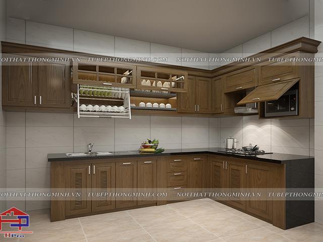 Hình ảnh thiết kế 3D tủ bếp khung bê tông nhà chú Tâm