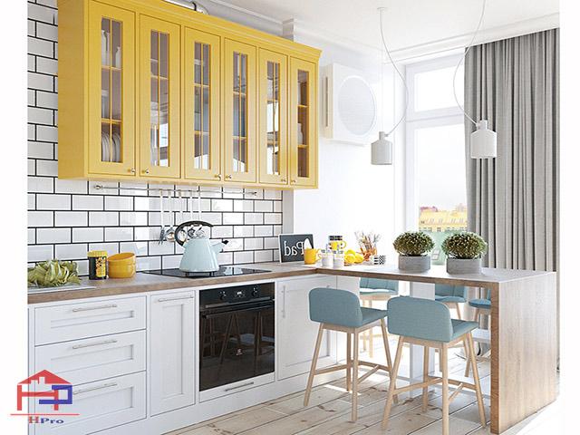 Thiết kế nhà bếp nhỏ hẹp với tủ bếp kết hợp bàn đảo tiện dụng