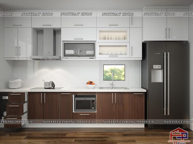 Thiết kế nhà bếp nhỏ hẹp được tận dụng tối đa không gian diện tích với tủ bếp kịch trần
