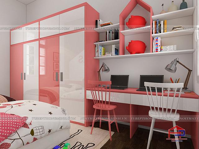 Mẫu thiết kế phòng ngủ cho bé gái nhà anh Tú