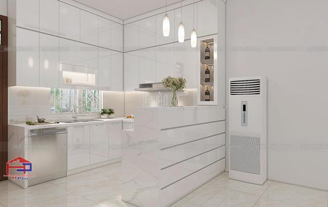 Mẫu tủ bếp đẹp gỗ xoan đào hình chữ I dành cho nhà bếp chung cư nhỏ xinh mà tiện nghi
