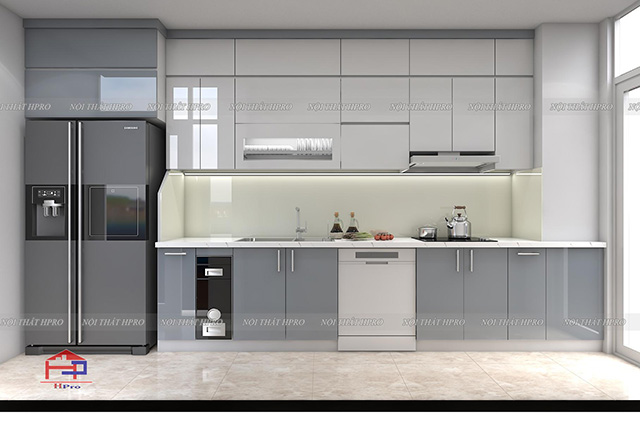 Mẫu tủ bếp đẹp chất liệu gỗ sồi mỹ màu nâu vàng sậm sang trọng với thiết kế hiện đại tiện nghi