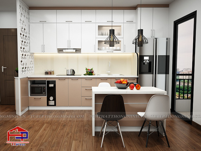 Mẫu tủ bếp đẹp được thiết kế cho nhà chung cư với kiểu dáng chữ I nhỏ gọn kịch trần kết hợp vách trang trí CNC ấn tượng và bàn đảo bếp nhỏ xinh