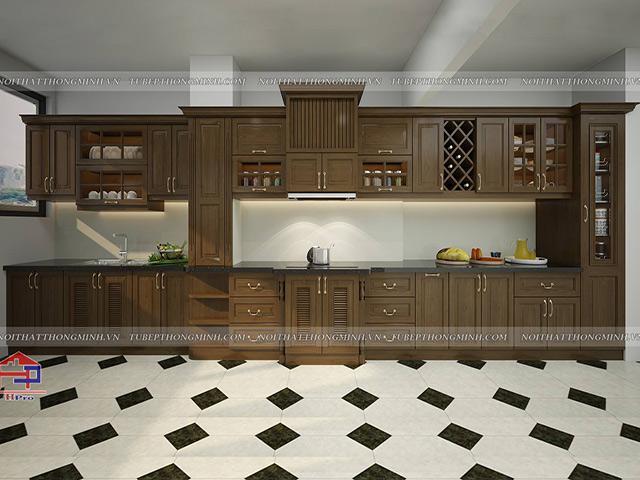 Mẫu tủ bếp đẹp chất liệu gỗ sồi mỹ được thiết kế theo phong cách tân cổ điển sang trọng và đẳng cấp