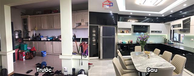 Không gian bếp được bố trí mẫu tủ bếp đẹp màu nâu vàng sậm có thiết kế bàn đảo bếp tiện nghi