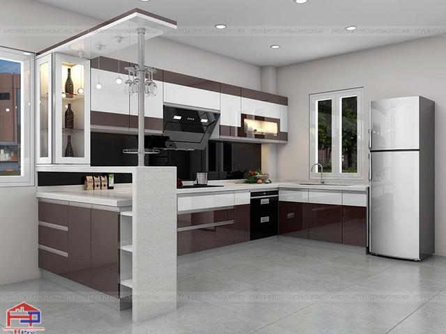 Thiết kế quầy bar bếp mini của mẫu tủ bếp inox đẹp mang đến những giây phút thư giãn tuyệt vời nhất cho các thành viên trong gia đình