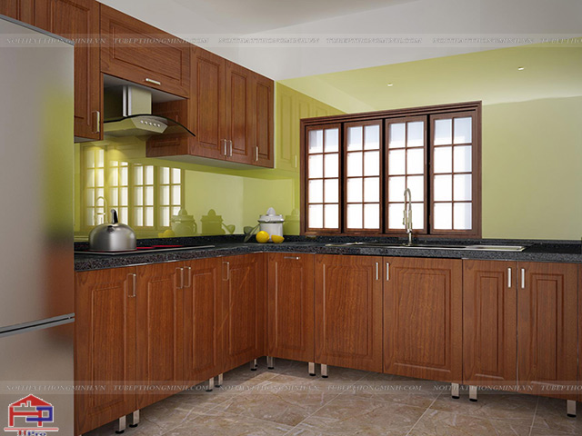 Mẫu tủ bếp inox đẹp với mặt cánh tủ bằng chất liệu gỗ xoan đào HAGL mang lại sự bền chắc cao cho không gian bếp