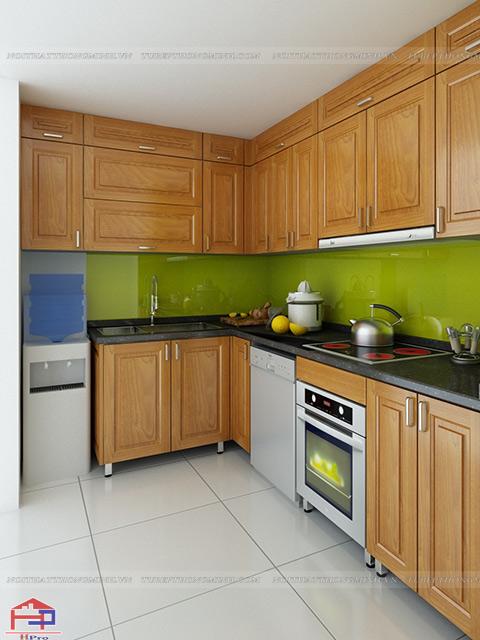 Mẫu tủ bếp inox đẹp mặt cánh bằng gỗ sồi nga tự nhiên mang lại cho không gian bếp độ bền đẹp trên 20 năm