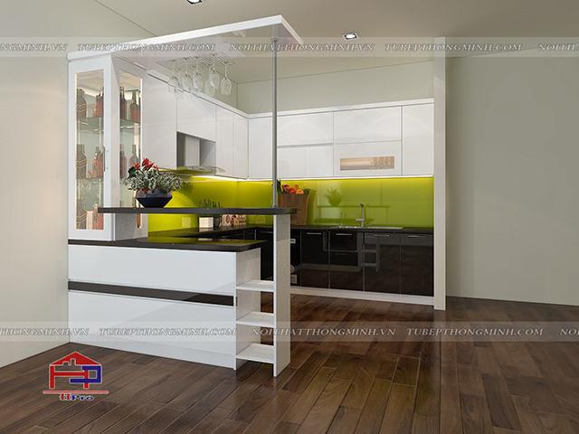 Ảnh thiết kế 3D bộ tủ bếp acrylic nhà anh Tân