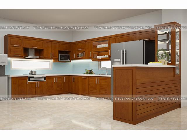 Hình ảnh thiết kế 3D tủ bếp gỗ xoan đào có quầy bar nhà anh Cường- Đông Anh- Hà Đông