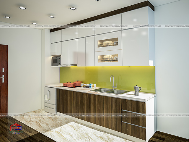 Hình ảnh thiết kế 3D tủ bếp laminate kết hợp acrylic An Cường nhà chị Ly