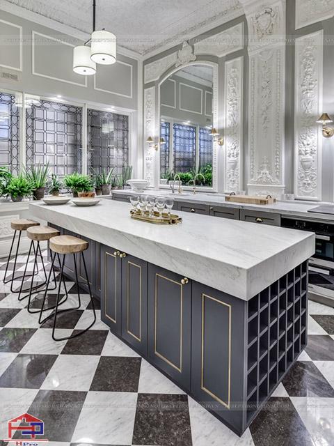 Sự sang trọng và đẳng cấp là những gì không gian phòng bếp đẹp này mang lại