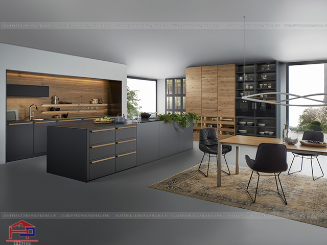 Không gian phòng bếp đẹp sang trọng và đẳng cấp với hệ thống kệ mở cực kì tiện ích