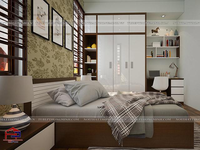 Không gian nội thất phòng ngủ bé gái bằng chất liệu gỗ melamine An Cường
